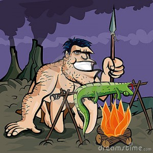 caveman-cooking-lizard
